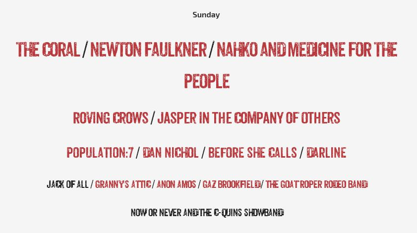 Capture Sunday 14th line-up